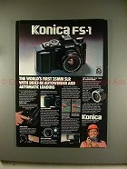 1980 Konica FS-1 Camera Ad - Built-in Autowinder!!