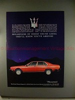 1982 Maserati Quattroporte Car Ad - Know You've Arrived