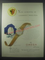 1954 Omega Model 920 Watch Ad - Your guarantee of consistent perfection