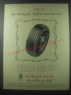 1954 Dunlop Fort Tires Ad - First for strength, safety and service