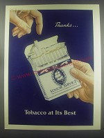1954 Senior Service Cigarettes Ad - Thanks.. Tobacco at its best