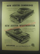 1954 Austin Cambridge and Westminster Cars Advertisement