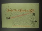 1954 BTH Mazda Lamps Ad - On the 21st of October 1879
