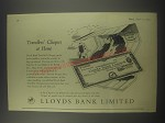 1954 Lloyds Bank Ad - Travellers' Cheques at home