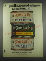 1977 Bumble Bee Tuna Ad - All you'll ever need to know about tunafish