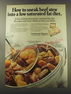 1972 Fleischmann's Margarine Ad - Sneak beef stew into a low saturated diet