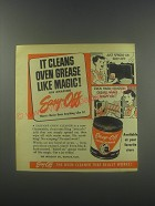 1952 Easy-Off Oven Cleaner Ad - It cleans oven grease like magic