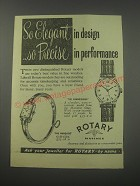 1954 Rotary Watches Advertisement - Connoisseur and Marquise