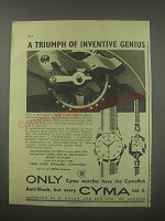 1954 Cyma Watches Ad - A triumph of inventive genius