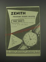 1954 Zenith Watches Ad - Zenith precision record holders