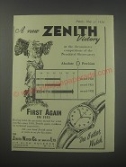 1954 Zenith Watches Ad - A new Zenith victory