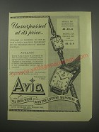 1954 Avia Watches Advertisement - Model 536 and 525 - Unsurpassed at its price