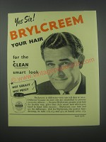 1954 Brylcreem Hair Dressing Ad - Yes sir! Brylcreem your hair for the clean