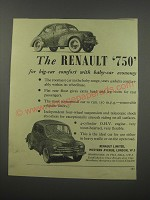 1954 Renault 750 Car Ad - The Renault 750 for big-car comfort