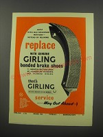 1954 Girling Brakes Ad - Replace with Genuine Girling Bonded Brake Shoes