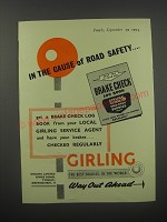 1954 Girling Brakes Ad - In the cause of Road Safety
