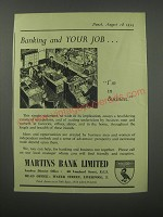 1954 Martins Bank Ad - Banking and your job.. I'm in Business