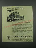 1954 Martins Bank Ad - Banking and your job.. I'm in transport