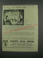 1954 Martins Bank Ad - Banking and your job.. I'm in textiles