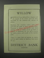 1954 District Bank Limited Ad - Willow