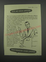 1954 Westminster Bank Ad - Out of your ground