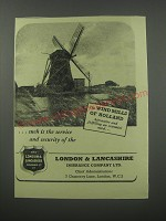 1954 London & Lancashire Insurance Ad - The Wind Mills of Holland