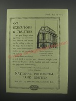 1954 National Provincial Bank Limited Ad - On executors & trustees