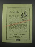1954 National PRovincial Bank Limited Ad - To women about banking