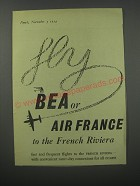 1954 BEA and Air France Ad - Fly BEA or Air France to the French Riviera