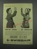 1954 Swissair Airline Ad - You're there.. By Swissair