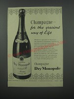 1954 Dry Monopole Champagne Ad - Champagne - for the gracious way of life