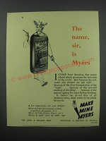 1954 Myers Rum Ad - The name, sir, is Myers