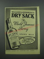 1954 Williams & Humbert's Dry Sack Sherry Ad - The World Famous Sherry