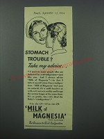 1954 Phillips Milk of Magnesia Ad - Stomach trouble? Take my advice