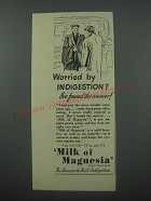 1954 Phillips Milk of Magnesia Ad - Worried by indigestion? I've found
