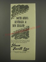 1954 Shaw Savill Line Ad - South Africa Australia & New Zealand