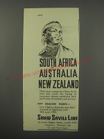 1954 Shaw Savill Line Ad - South Africa Australia New Zealand