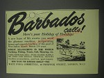 1954 Barbados Tourism Ad - Barbados calls here's your holiday of Holidays