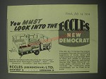 1954 Eccles Democrat Caravan Ad - You must look into the Eccles new Democrat