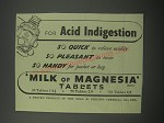 1954 Phillips Milk of Magnesia Ad - for acid indigestion