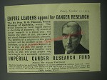 1954 Imperial Cancer Research Fund Advertisement - Empire leaders