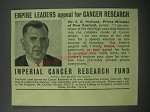 1954 Imperial Cancer Research Fund Ad - Empire leaders appeal for cancer