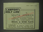 1954 Lamport & Holt Line Ad - To south america
