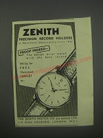 1954 Zenith Watch Ad - Zenith precision record holders