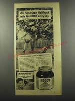 1944 Bosco Drink Ad - All-American Halfback gets his Iron every day