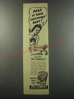 1944 Pictsweet Sweet Peas Ad - Peas at their just-picked best