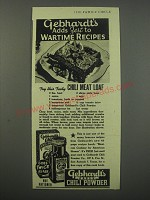 1944 Gebhardt's Eagle Chili Powder Ad - recipe for Chili Meat Loaf