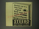 1944 Steero Bouillon cubes Ad - Quickest way to a tasty bowl of good beefy soup