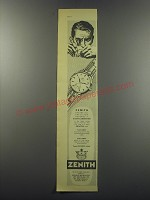 1955 Zenith Watches Advertisement - breaks all precision records at Neuchatel