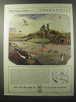 1955 Shell Oil Ad - Shell Nature Studies James Fisher No. 4 Wild life in April